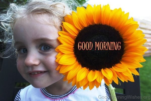 Baby With Sunflower Good Morning