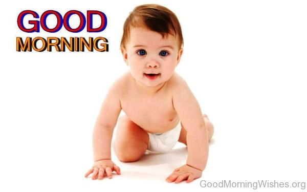 Blue Eyes Cute Baby With Good Morning