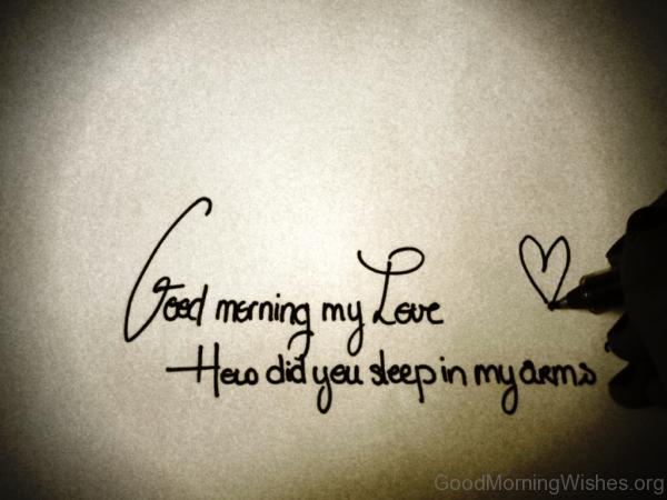 Good Morning My Love How Did You Sleep In My Dreams