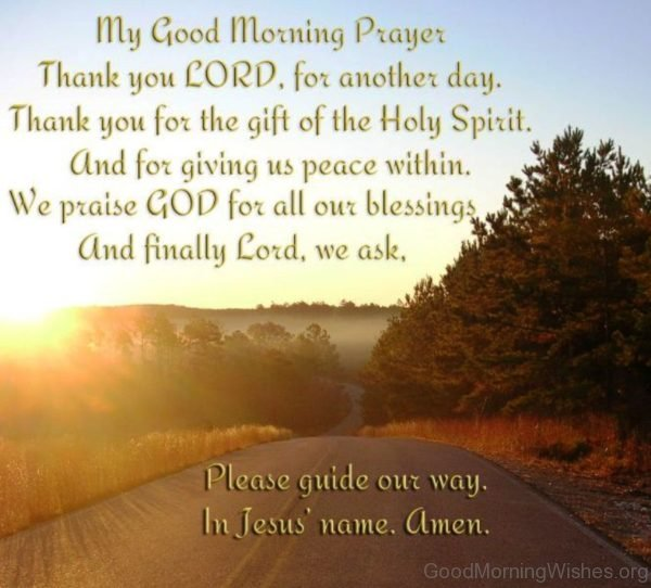 My Good Morning Prayer Thank You Lord