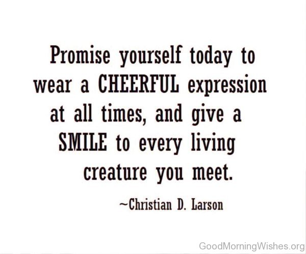 Promise Yourself Today To Wear A Cheerful Expression