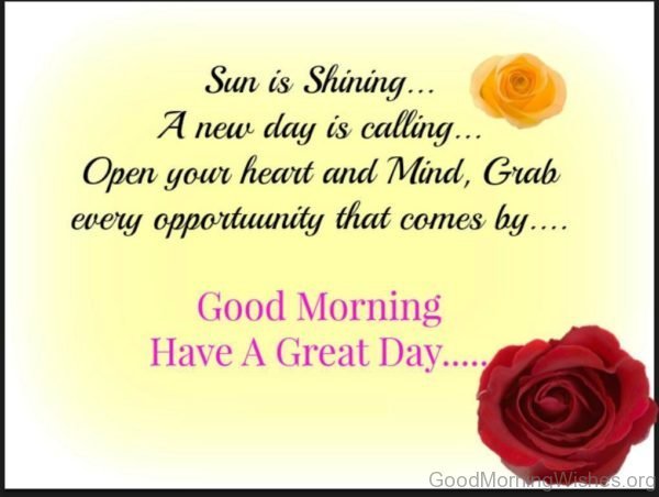 Sun Is Shining A New Day Is Calling