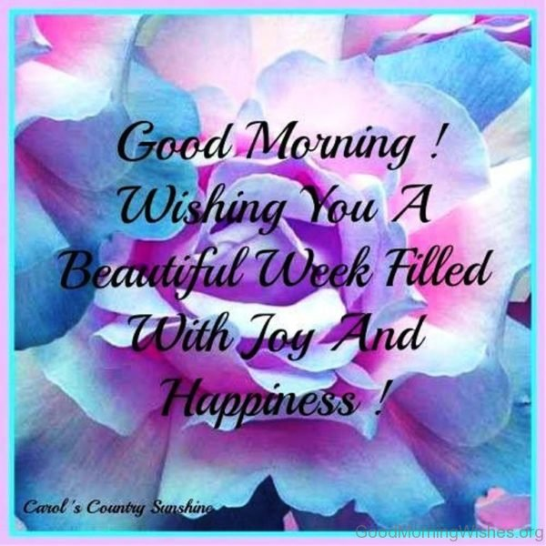 Good Morning Wishing You A Beautiful Week Filled With Joy And Happiness