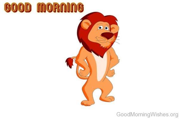 Good Morning With Lion Cartoon