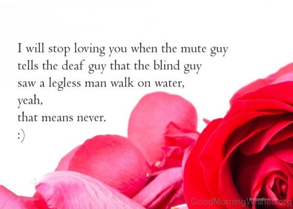 I Will Stop Loving You When The Mute Guy